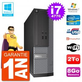PC Dell 3020 SFF Intel i7-4770 RAM 8Go Disque 2To Graveur DVD Wifi W7
