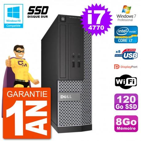 PC Dell 3020 SFF Intel i7-4770 RAM 8Go SSD 120Go Graveur DVD Wifi W7