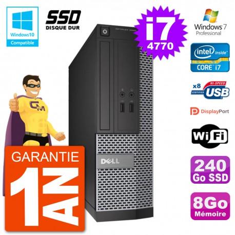 PC Dell 3020 SFF Intel i7-4770 RAM 8Go SSD 240Go Graveur DVD Wifi W7