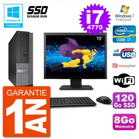 """PC Dell 3020 SFF Ecran 19"""" Intel i7-4770 RAM 8Go SSD 120Go Graveur DVD Wifi W7"""