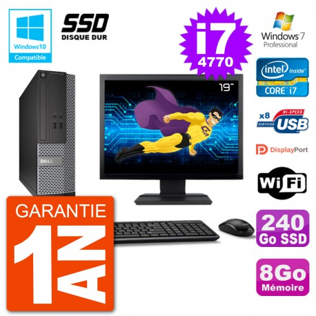 """PC Dell 3020 SFF Ecran 19"""" Intel i7-4770 RAM 8Go SSD 240Go Graveur DVD Wifi W7"""