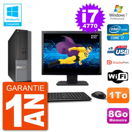 """PC Dell 3020 SFF Ecran 22"""" Intel i7-4770 RAM 8Go Disque 1To Graveur DVD Wifi W7"""