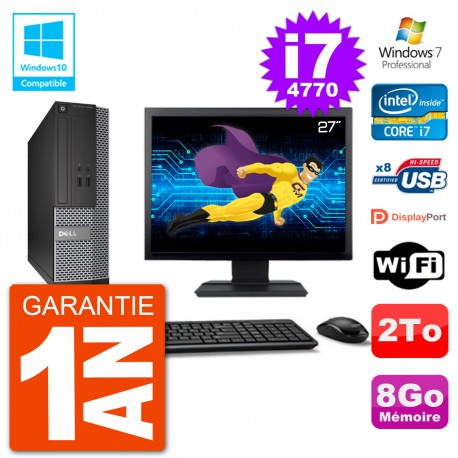 """PC Dell 3020 SFF Ecran 27"""" Intel i7-4770 RAM 8Go Disque 2To Graveur DVD Wifi W7"""