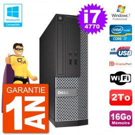 PC Dell 3020 SFF Intel i7-4770 RAM 16Go Disque 2To Graveur DVD Wifi W7