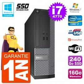 PC Dell 3020 SFF Intel i7-4770 RAM 16Go SSD 240Go Graveur DVD Wifi W7