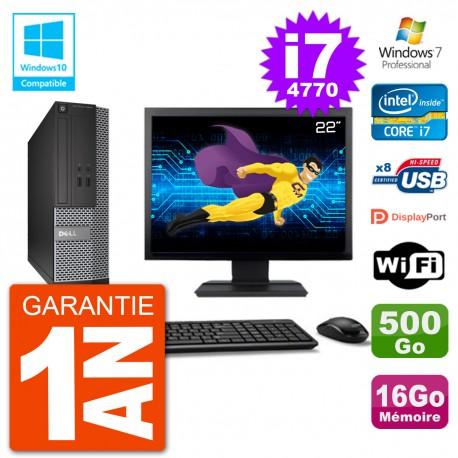 """PC Dell 3020 SFF Ecran 22"""" Intel i7-4770 RAM 16Go Disque 500Go Graveur DVD Wifi W7"""