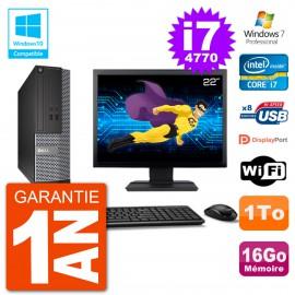 """PC Dell 3020 SFF Ecran 22"""" Intel i7-4770 RAM 16Go Disque 1To Graveur DVD Wifi W7"""