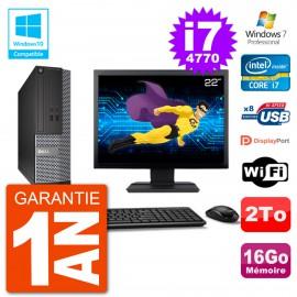 """PC Dell 3020 SFF Ecran 22"""" Intel i7-4770 RAM 16Go Disque 2To Graveur DVD Wifi W7"""