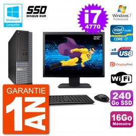 """PC Dell 3020 SFF Ecran 22"""" Intel i7-4770 RAM 16Go SSD 240Go Graveur DVD Wifi W7"""