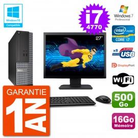 """PC Dell 3020 SFF Ecran 27"""" Intel i7-4770 RAM 16Go Disque 500Go Graveur DVD Wifi W7"""