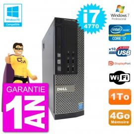 PC Dell 7020 SFF Intel i7-4770 RAM 4Go Disque 1To Graveur DVD Wifi W7