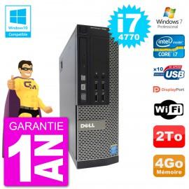 PC Dell 7020 SFF Intel i7-4770 RAM 4Go Disque 2To Graveur DVD Wifi W7