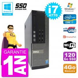 PC Dell 7020 SFF Intel i7-4770 RAM 4Go SSD 120Go Graveur DVD Wifi W7