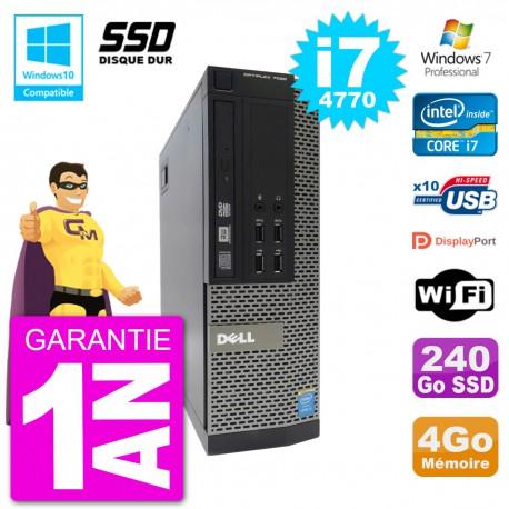 PC Dell 7020 SFF Intel i7-4770 RAM 4Go SSD 240Go Graveur DVD Wifi W7