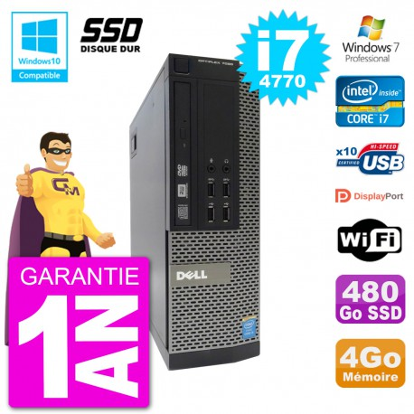 PC Dell 7020 SFF Intel i7-4770 RAM 4Go SSD 480Go Graveur DVD Wifi W7