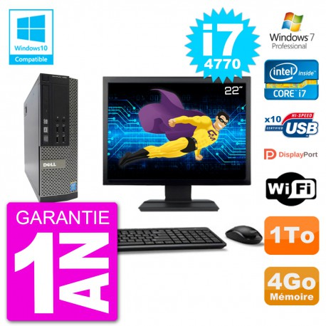 "PC Dell 7020 SFF Ecran 22"" Intel i7-4770 RAM 4Go Disque 1To Graveur DVD Wifi W7"