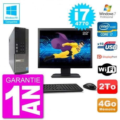 """PC Dell 7020 SFF Ecran 22"""" Intel i7-4770 RAM 4Go Disque 2To Graveur DVD Wifi W7"""
