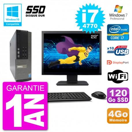 """PC Dell 7020 SFF Ecran 22"""" Intel i7-4770 RAM 4Go SSD 120Go Graveur DVD Wifi W7"""