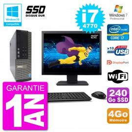 """PC Dell 7020 SFF Ecran 22"""" Intel i7-4770 RAM 4Go SSD 240Go Graveur DVD Wifi W7"""