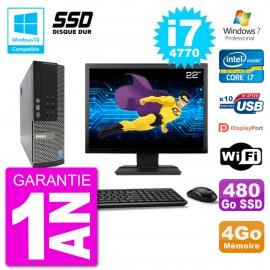 """PC Dell 7020 SFF Ecran 22"""" Intel i7-4770 RAM 4Go SSD 480Go Graveur DVD Wifi W7"""