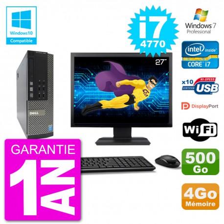"""PC Dell 7020 SFF Ecran 27"""" Intel i7-4770 RAM 4Go Disque 500Go Graveur DVD Wifi W7"""