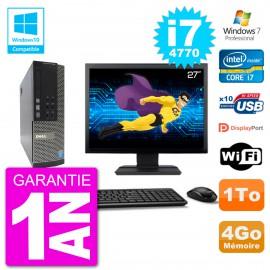 """PC Dell 7020 SFF Ecran 27"""" Intel i7-4770 RAM 4Go Disque 1To Graveur DVD Wifi W7"""