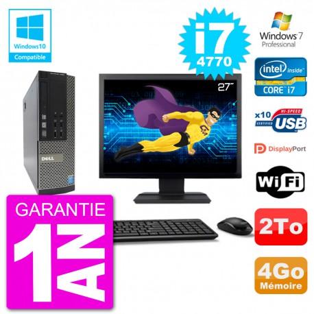 """PC Dell 7020 SFF Ecran 27"""" Intel i7-4770 RAM 4Go Disque 2To Graveur DVD Wifi W7"""