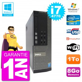 PC Dell 7020 SFF Intel i7-4770 RAM 8Go Disque 1To Graveur DVD Wifi W7