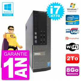 PC Dell 7020 SFF Intel i7-4770 RAM 8Go Disque 2To Graveur DVD Wifi W7