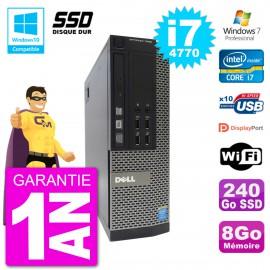 PC Dell 7020 SFF Intel i7-4770 RAM 8Go SSD 240Go Graveur DVD Wifi W7