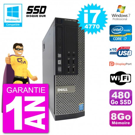 PC Dell 7020 SFF Intel i7-4770 RAM 8Go SSD 480Go Graveur DVD Wifi W7