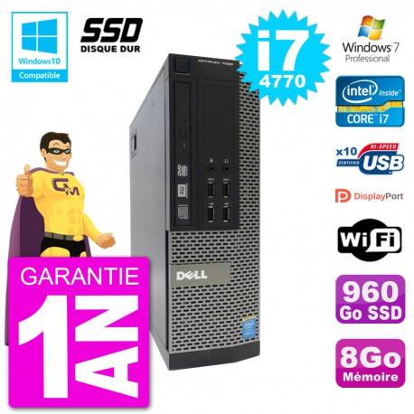PC Dell 7020 SFF Intel i7-4770 RAM 8Go SSD 960Go Graveur DVD Wifi W7