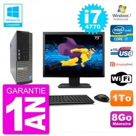 """PC Dell 7020 SFF Ecran 19"""" Intel i7-4770 RAM 8Go Disque 1To Graveur DVD Wifi W7"""