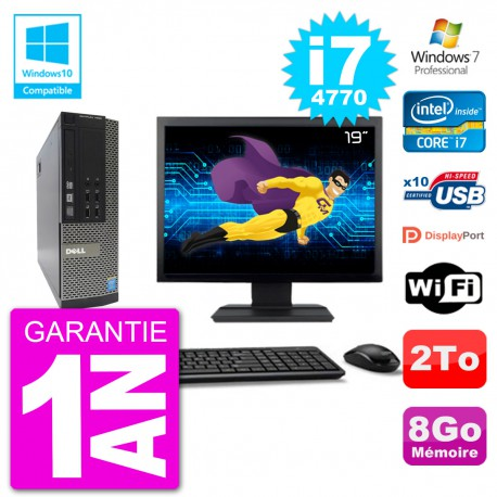 "PC Dell 7020 SFF Ecran 19"" Intel i7-4770 RAM 8Go Disque 2To Graveur DVD Wifi W7"
