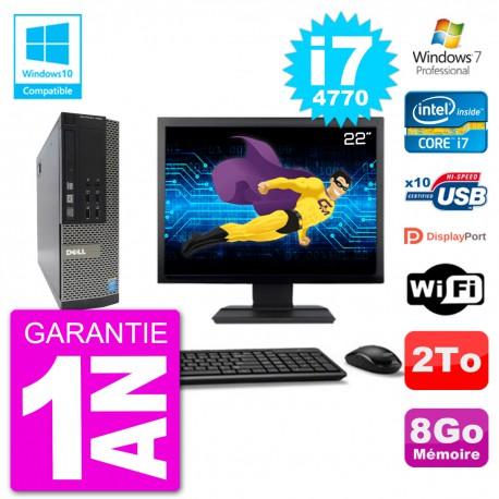 """PC Dell 7020 SFF Ecran 22"""" Intel i7-4770 RAM 8Go Disque 2To Graveur DVD Wifi W7"""
