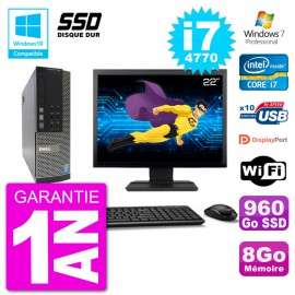 """PC Dell 7020 SFF Ecran 22"""" Intel i7-4770 RAM 8Go SSD 960Go Graveur DVD Wifi W7"""
