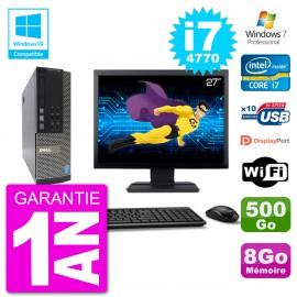 """PC Dell 7020 SFF Ecran 27"""" Intel i7-4770 RAM 8Go Disque 500Go Graveur DVD Wifi W7"""