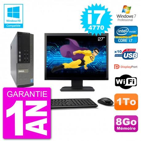 """PC Dell 7020 SFF Ecran 27"""" Intel i7-4770 RAM 8Go Disque 1To Graveur DVD Wifi W7"""