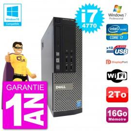 PC Dell 7020 SFF Intel i7-4770 RAM 16Go Disque 2To Graveur DVD Wifi W7