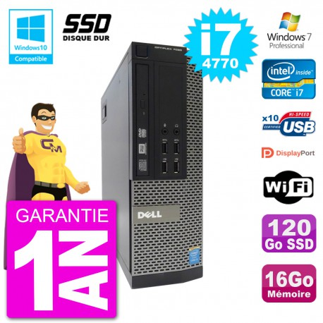 PC Dell 7020 SFF Intel i7-4770 RAM 16Go SSD 120Go Graveur DVD Wifi W7