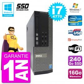PC Dell 7020 SFF Intel i7-4770 RAM 16Go SSD 240Go Graveur DVD Wifi W7