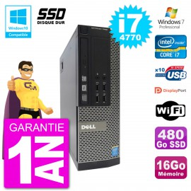 PC Dell 7020 SFF Intel i7-4770 RAM 16Go SSD 480Go Graveur DVD Wifi W7