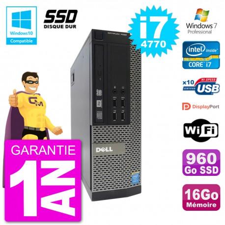 PC Dell 7020 SFF Intel i7-4770 RAM 16Go SSD 960Go Graveur DVD Wifi W7