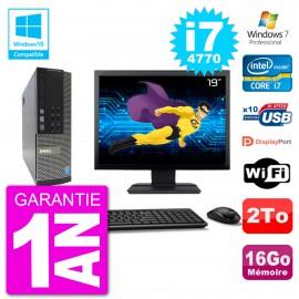 """PC Dell 7020 SFF Ecran 19"""" Intel i7-4770 RAM 16Go Disque 2To Graveur DVD Wifi W7"""