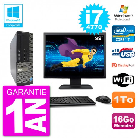 """PC Dell 7020 SFF Ecran 22"""" Intel i7-4770 RAM 16Go Disque 1To Graveur DVD Wifi W7"""