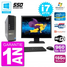 """PC Dell 7020 SFF Ecran 22"""" Intel i7-4770 RAM 16Go SSD 960Go Graveur DVD Wifi W7"""