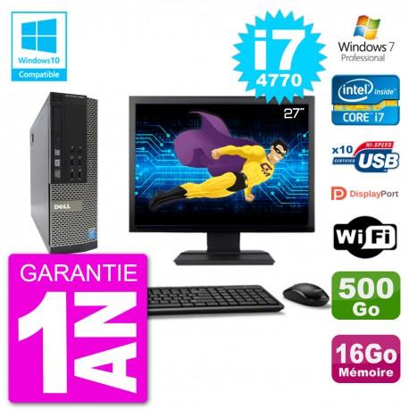 """PC Dell 7020 SFF Ecran 27"""" Intel i7-4770 RAM 16Go Disque 500Go Graveur DVD Wifi W7"""