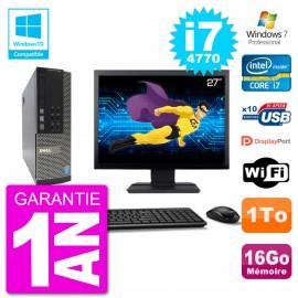 """PC Dell 7020 SFF Ecran 27"""" Intel i7-4770 RAM 16Go Disque 1To Graveur DVD Wifi W7"""