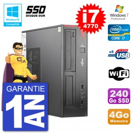 PC Fujitsu Esprimo E520 DT i7-4770 RAM 4Go SSD 240Go Graveur DVD Wifi W7