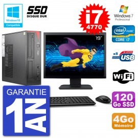 """PC Fujitsu Esprimo E520 DT Ecran 19"""" i7-4770 4Go SSD 120Go Graveur DVD Wifi W7"""